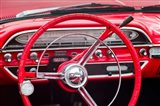 Classic Red Steering Whell At An Antique Car Show