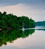 Sailboat Sailing Down the Tombigbee River in Mississippi