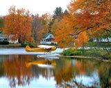 Float plane reflects on Highland Lake, New England, New Hampshire