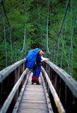 Hikers on a Footbridge Across Pemigewasset River, New Hampshire