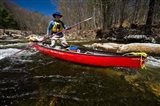 Poling a Canoe on the Ashuelot River in Surry, New Hampshire