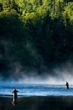 Fly-Fishing in Early Morning Mist on the Androscoggin River, Errol, New Hampshire