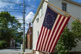 New Hampshire, Portsmouth, Strawberry Banke Historic Area, building with US flag