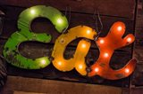 Colorful 'Eat' Antique Sign, New York City, New York