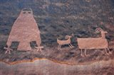 Ancient Petroglyph Of Owl And Big Horn Sheep, Utah