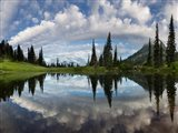 Mt Rainier And Clouds Reflecting In Upper Tipsoo Lake