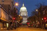 Looking down State Street in downtown Madison, Wisconsin
