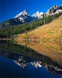 Cathedral group reflecting in String Lake, Grand Teton National Park, Wyoming
