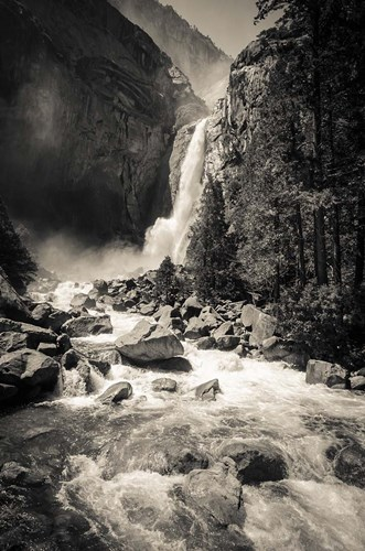 Lower Yosemite Falls, Yosemite National Park (BW) Poster by Russ Bishop / DanitaDelimont for $42.50 CAD