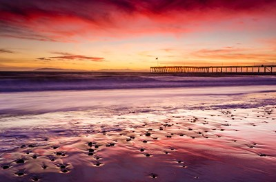 Sunset Over Ventura Pier From San Buenaventura State Beach Poster by Russ Bishop / DanitaDelimont for $68.75 CAD