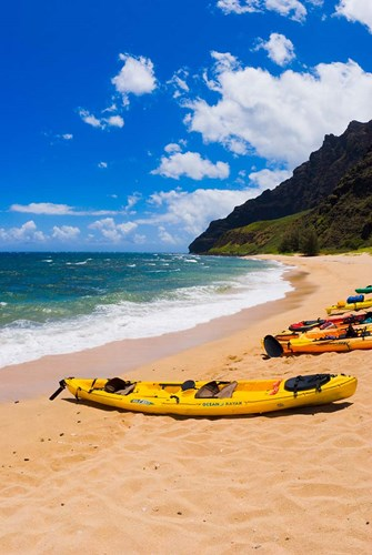 Sea Kayaks On Milolii Beach, Island Of Kauai, Hawaii Poster by Russ Bishop / DanitaDelimont for $42.50 CAD
