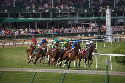 Horses Racing On Turf At Churchill Downs, Kentucky Poster by Jaynes Gallery / Danita Delimont for $47.50 CAD