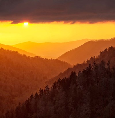 Sunset Light Fills Valley Of The Great Smoky Mountains Poster by Ann Collins / DanitaDelimont for $47.50 CAD