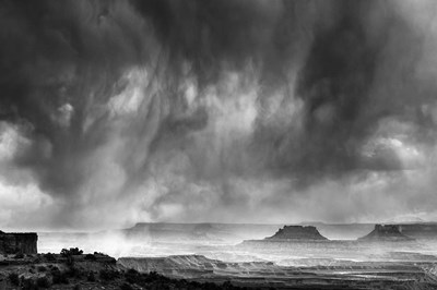 Rainstorm From A Canyon Overlook, Utah (BW) Poster by Judith Zimmerman / DanitaDelimont for $47.50 CAD