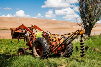 Tractor Used For Fence Building, Washington Poster by Alison Jones / Danita Delimont for $60.00 CAD