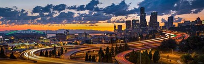 Sunset Panorama Of Downtown Seattle Poster by Gary Luhm / Danita Delimont for $75.00 CAD