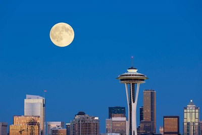 Seattle Skyline View With Full Moon Poster by Jamie & Judy Wild / Danita Delimont for $47.50 CAD