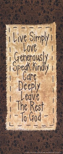 Live Simply Poster by Vicki Huffman for $8.75 CAD