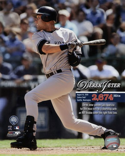Derek Jeter Most Career Hits by a Shortstop 2009 with Overlay Poster by Unknown for $21.25 CAD
