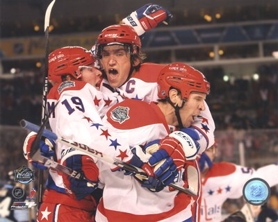 Alex Ovechkin, Nicklas Backstrom, & Mike Knuble Celebrate 2011 NHL Winter Classic Poster by Unknown for $20.00 CAD
