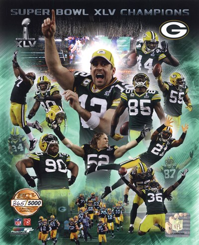 Green Bay Packers Super Bowl XLV Champions PF Gold Composite Poster by Unknown for $20.00 CAD