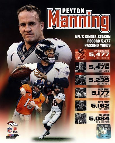 Peyton Manning Single Season Passing Yards Record Poster by Unknown for $21.25 CAD