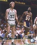 Larry Bird and Magic Johnson On The Court