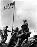 American Soldiers raise the first US flag at  Iwo Jima 1945