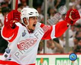 Jiri Hudler Celebrates his Game Winning Goal in Game 4 of the 2008 NHL Stanley Cup Finals - your walls, your style!