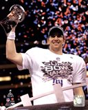 Eli Manning with the Vince Lombardi Trophy Super Bowl XLVI