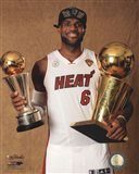 LeBron James with the NBA Championship & MVP Trophies Game 7 of the 2013 NBA Finals