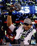 Russell Wilson with the Vince Lombardi Trophy Super Bowl XLVIII