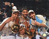Tony Parker, Tim Duncan, Manu & Ginobili with the NBA Championship Trophy Game 5 of the 2014 NBA Finals