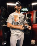 Madison Bumgarner with the MVP Trophy Game 7 of the 2014 World Series