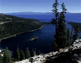 Emerald Bay lies near South Lake Tahoe, California