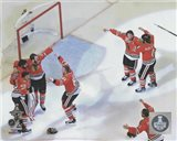 The Chicago Blackhawks celebrate winning Game 6 of the 2015 Stanley Cup Finals
