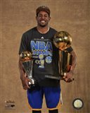 Andre Iguodala with the MVP & NBA Championship Trophies Game 6 of the 2015 NBA Finals