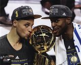 Stephen Curry & Andre Iguodala with the NBA Championship Trophy Game 6 of the 2015 NBA Finals