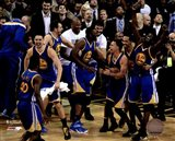 The Golden State Warriors celebrate winning Game 6 of the 2015 NBA Finals