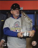 Joe Maddon with the World Series Championship Trophy Game 7 of the 2016 World Series