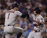 Carlos Correa & Jose Altuve Home Run celebration Game 2 of the 2017 World Series