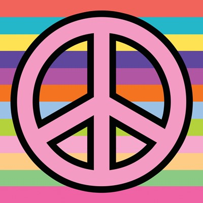 Peace - Pink on Stripes Poster by Louise Carey for $32.50 CAD
