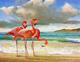 Beach Scene Flamingos