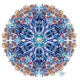 Blue Longhorn Beetle Rock Mandala