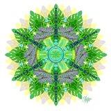 Jungle Leaf Dragonfly Mandala
