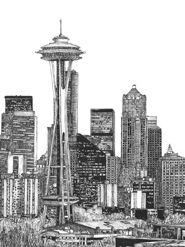 B&W Us Cityscape-Seattle Poster by Melissa Wang for $63.75 CAD