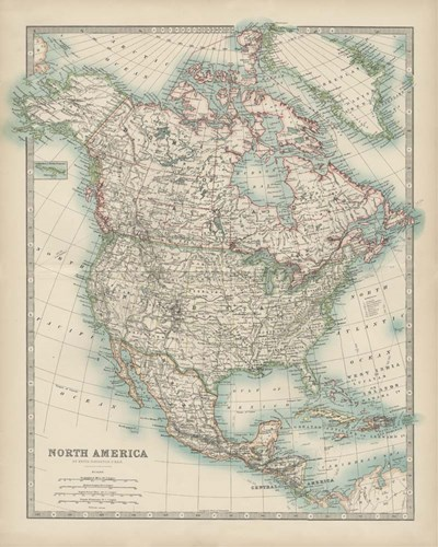 Map of North America Poster by Walt Johnston for $53.75 CAD