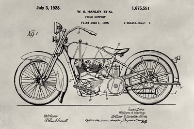 Patent--Motorcycle Poster by Alicia Ludwig for $42.50 CAD
