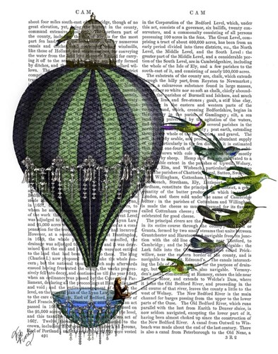 Hot Air Balloon and Birds Poster by Fab Funky for $38.75 CAD