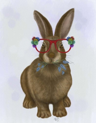 Rabbit and Flower Glasses Poster by Fab Funky for $33.75 CAD